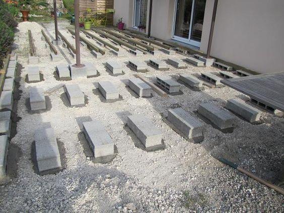Terrasse en bois sur parpaings de 8m par 4m