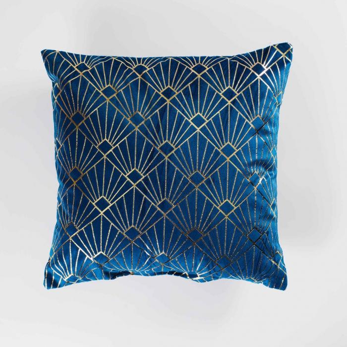 coussin 40 x 40 cm velours imprime or graphigold bleu à 7€