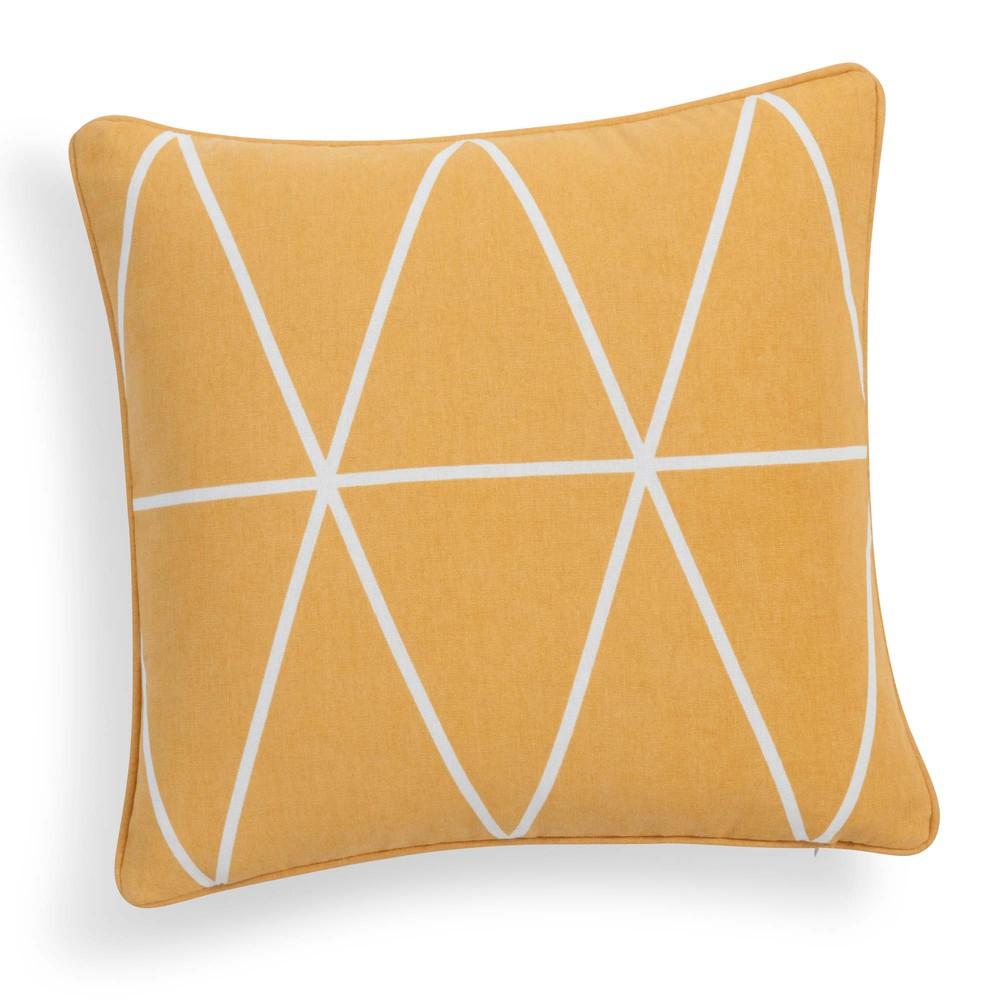 Housse de coussin en coton jaune moutarde 40 x 40 cm STEVE