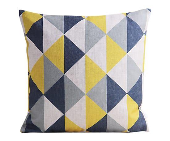 Housse de coussin TRIANGLE lin et coton bleu et jaune
