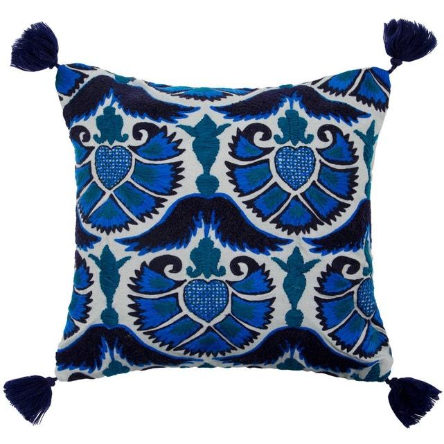 Coussin Bleu Gris Enveloppe De Coussin Coton Jazzy Peacock Bleu Et Gris Bleu