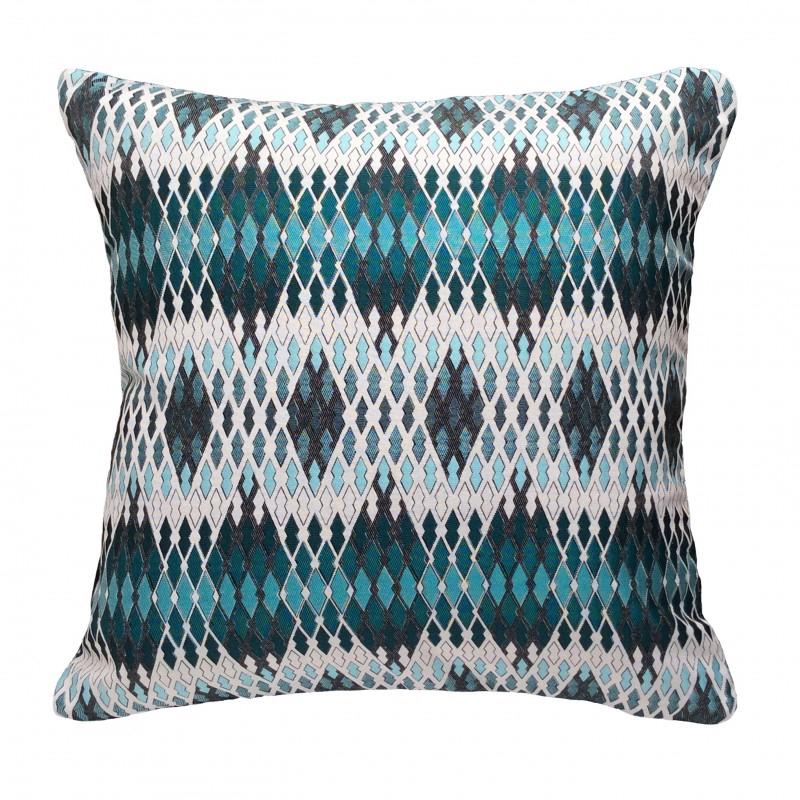 Coussin carré 50x50 design en imprimé géométrique bleu