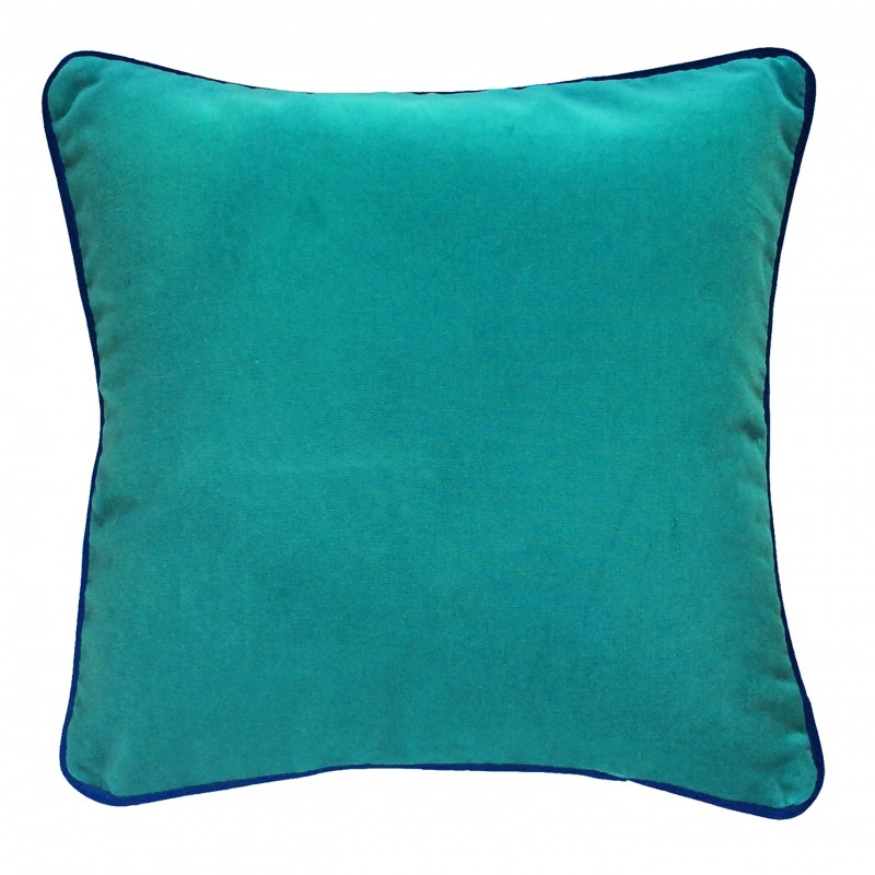 Coussin deco carr haut de gamme en velours vert et bleu