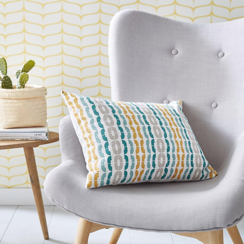 Coussin Hoshi INSPIRE bleu jaune gris l 50 x H 35 cm