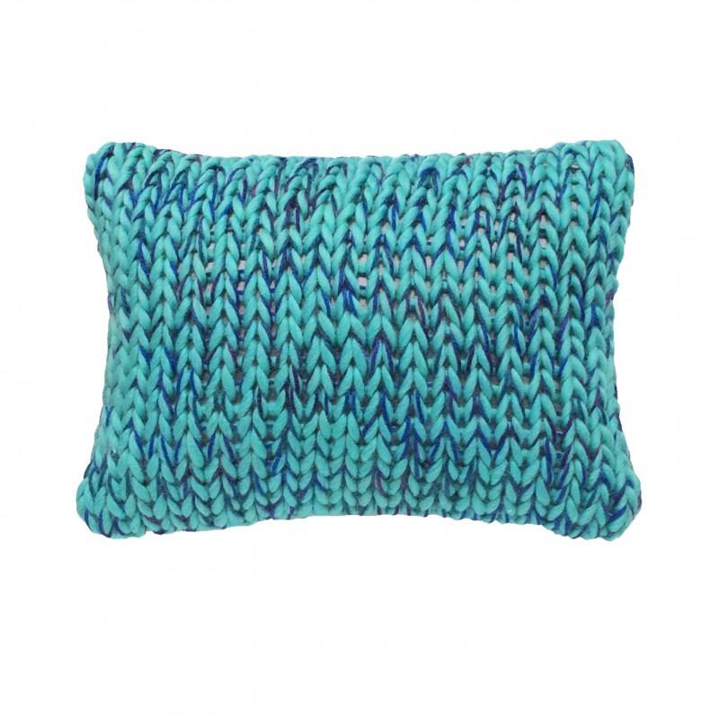 Coussin laine grosse maille bleu vert haut de gamme et design