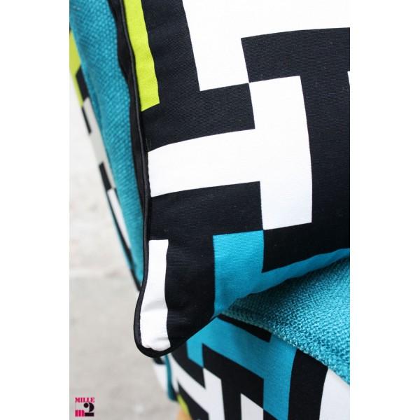 Coussin motif géométrique bleu vert rectangulaire Mille m2