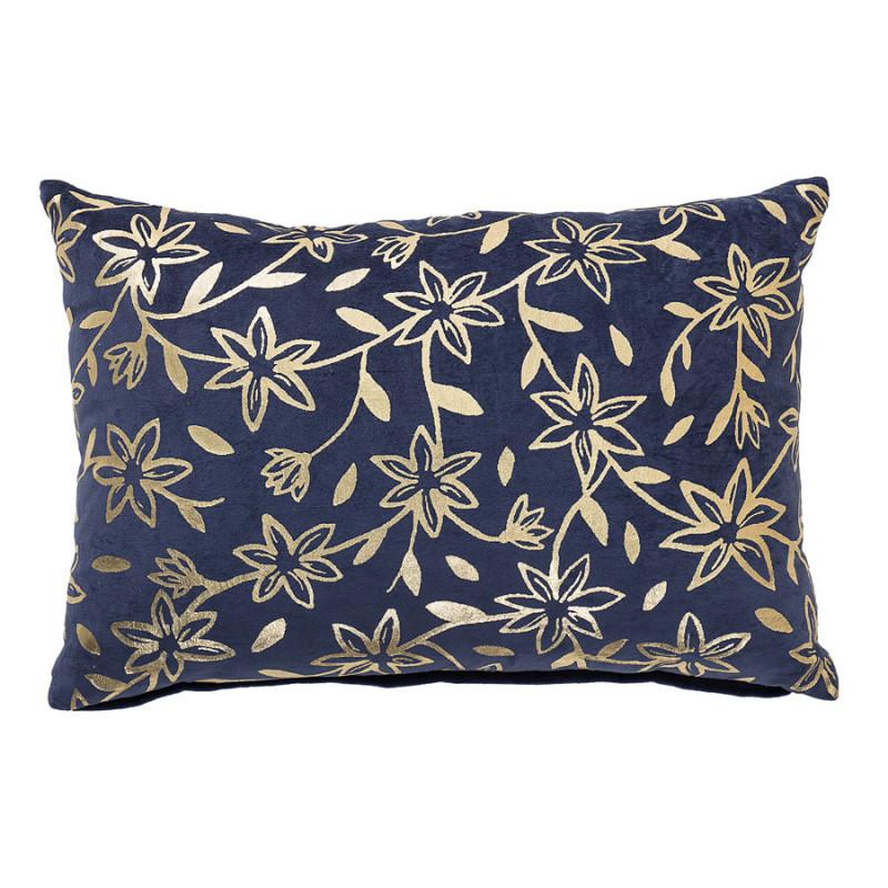 Coussin velours coton 40x60cm bleu indigo motif fleur et