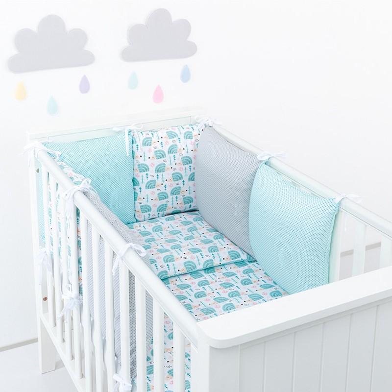 Parure de lit bébé avec tour de lit de coussins modulable