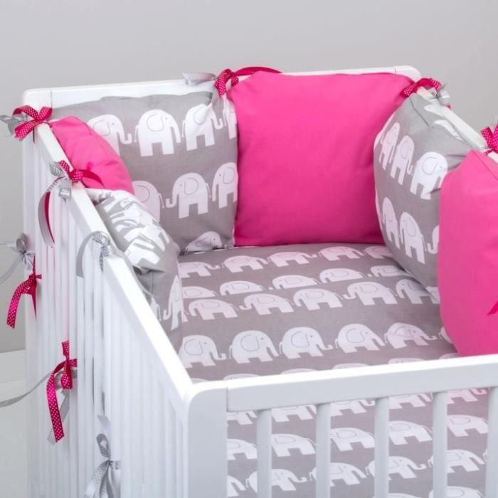 Set 10 pcs linge lit bébé tour de lit 6 coussins couette
