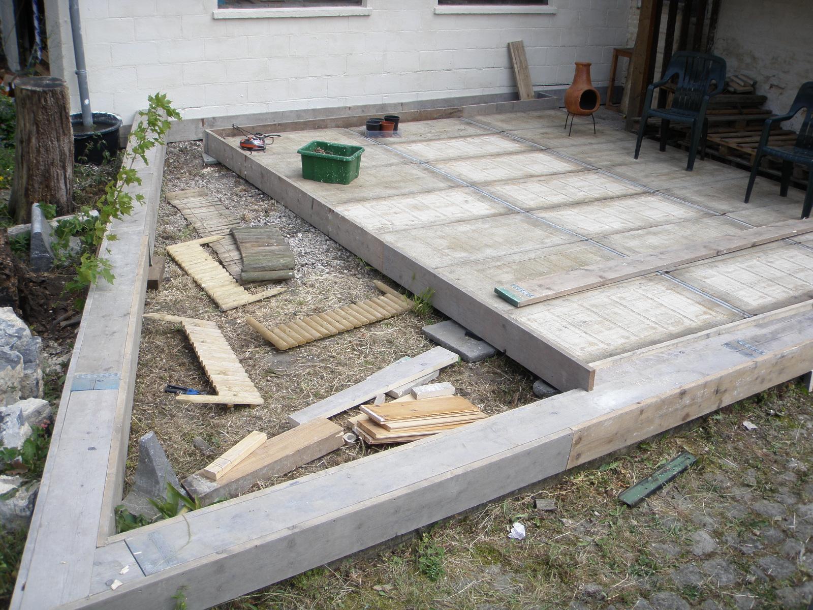 Terrasse en bois de récupération