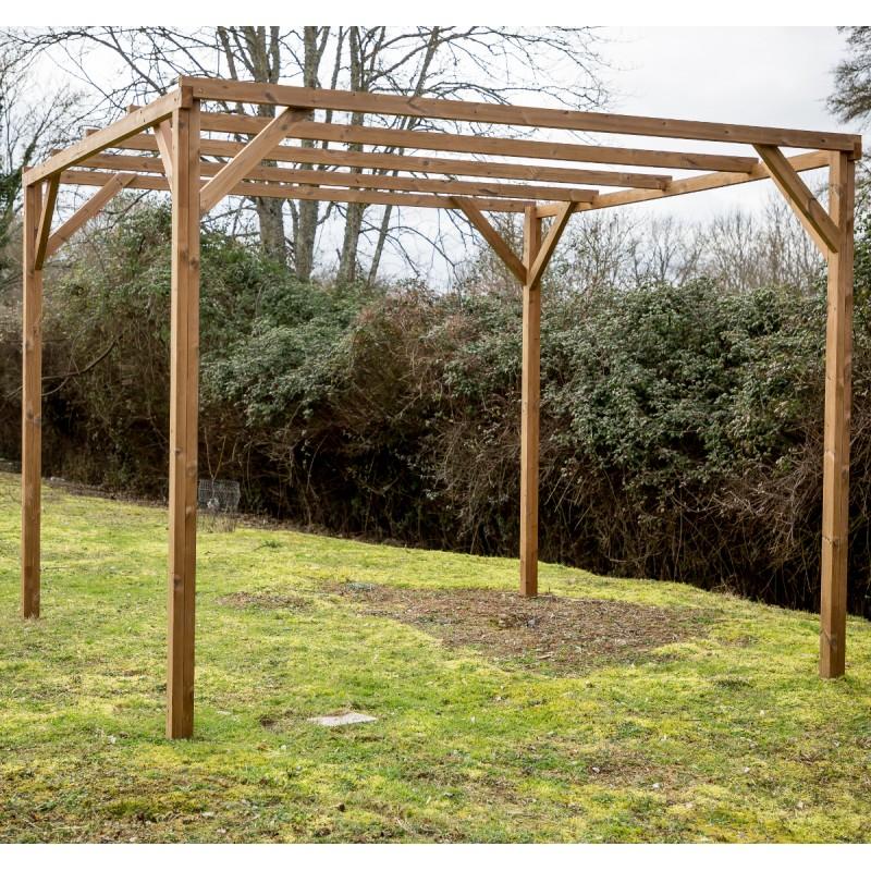 Pergola en bois thermowood 8 88m² THONON sans couverture