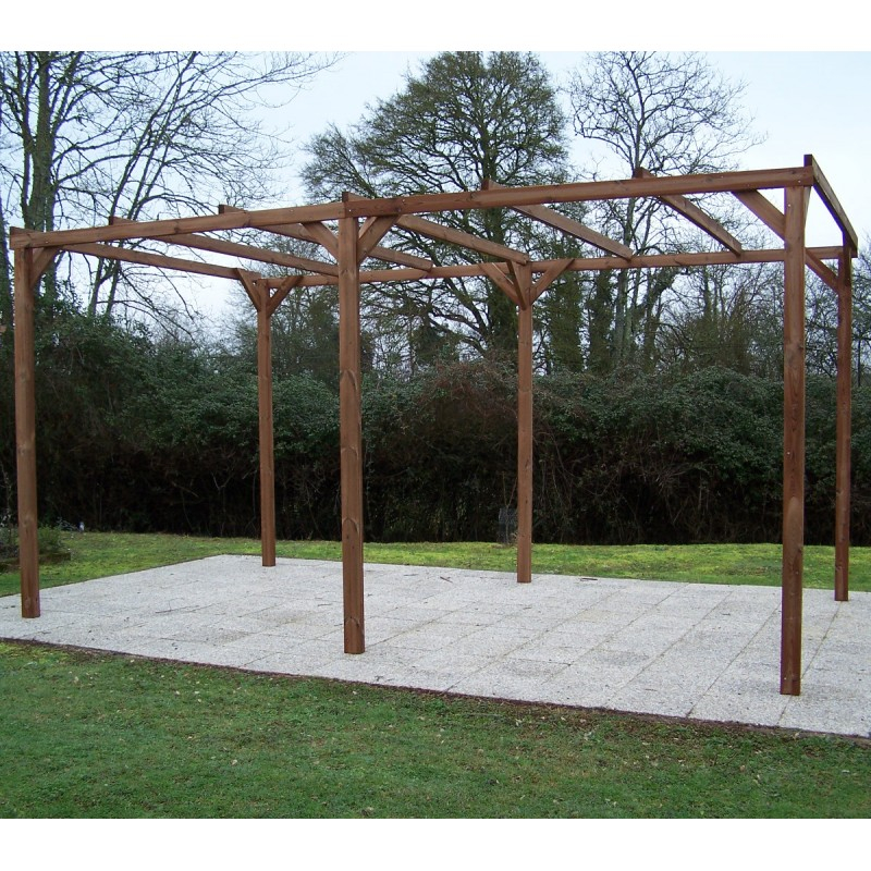 Pergola en bois thermowood THONON 14 80m² sans couverture