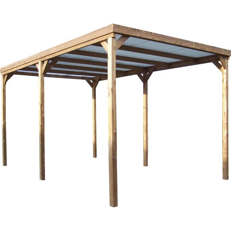 Pergola en bois thermowood THONON 15 06m² couverture PVC