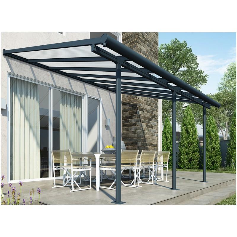 Couverture terrasse Aluminium Gris et toit transparent