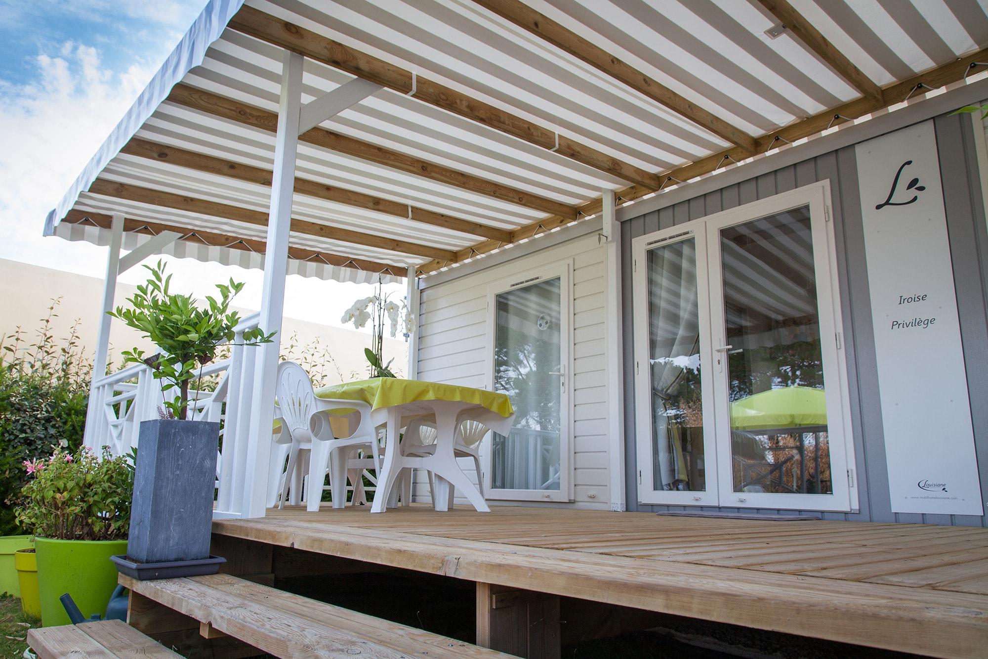 Couvertures terrasses pour mobil homes bâche PVC ou