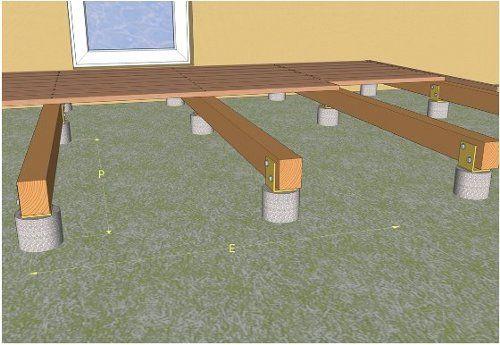 Pose d une terrasse en bois sur plots en béton