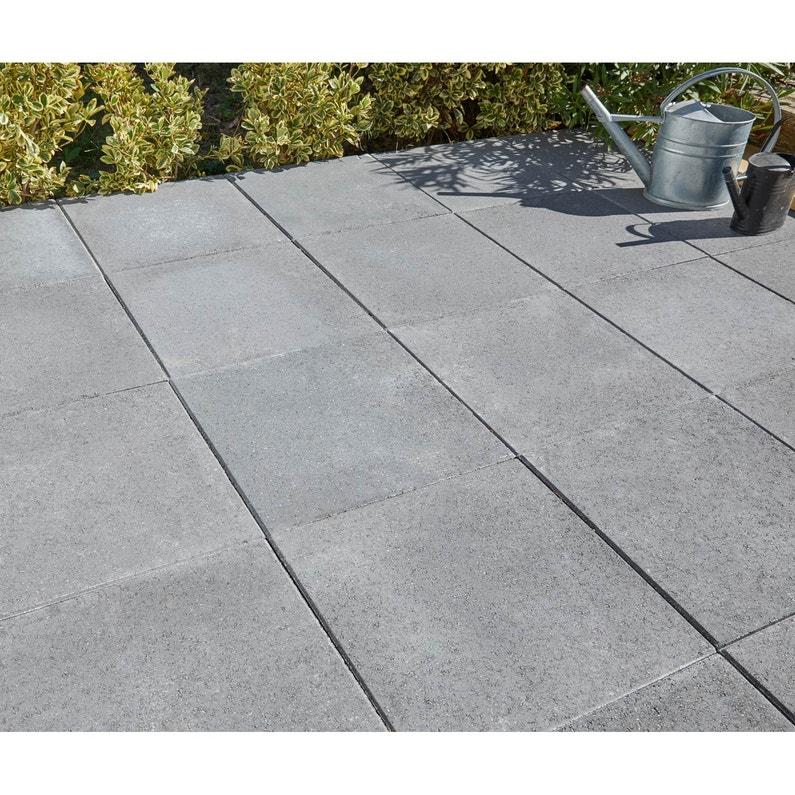 Dalle béton Provençale gris foncé L 50 x l 50 cm x Ep 50