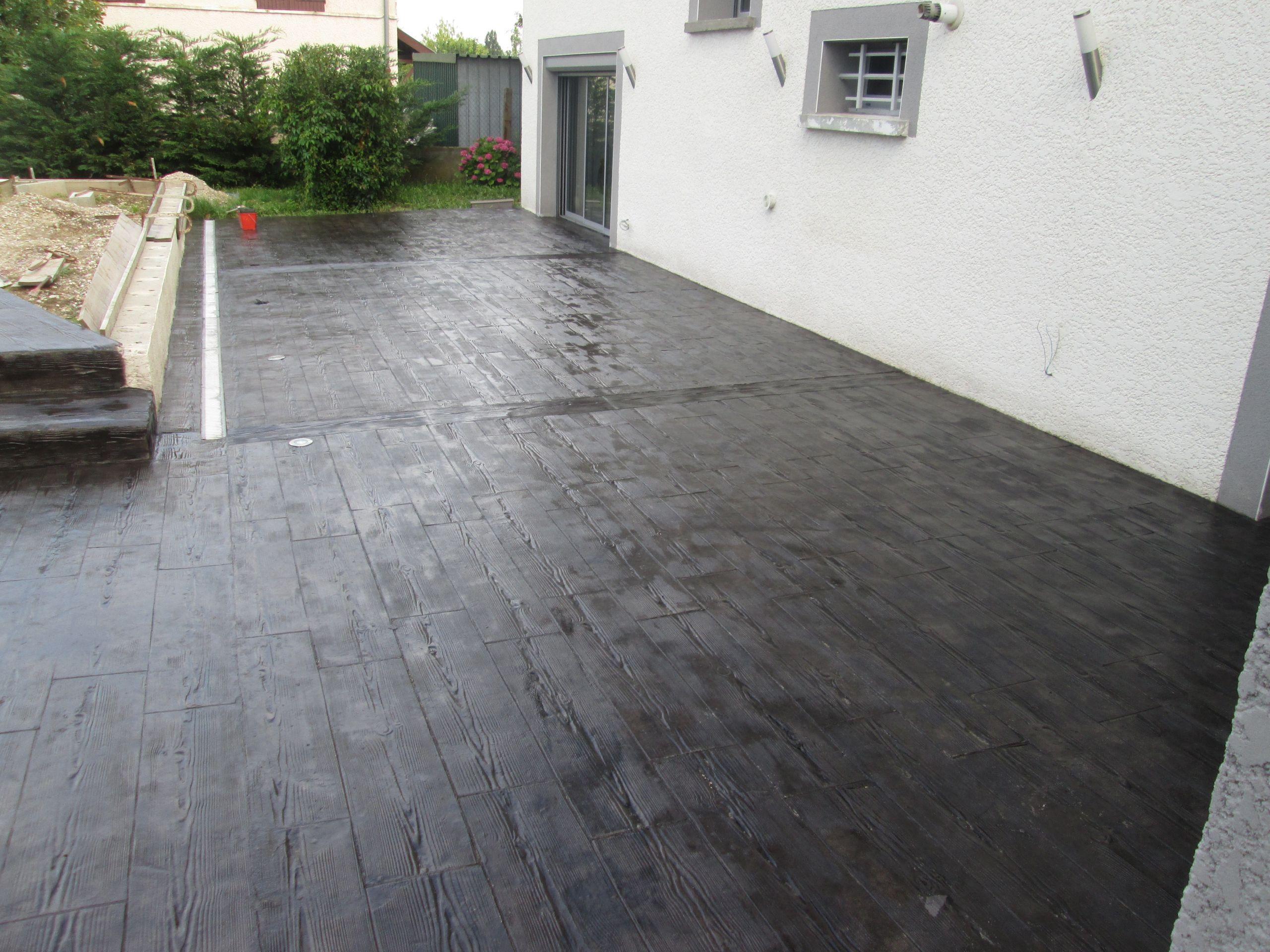 Dalle terrasse beton noir veranda styledevie