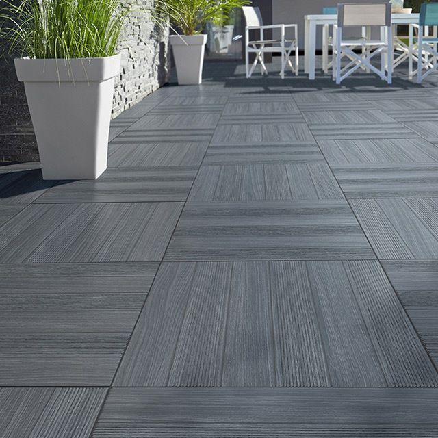 CASTORAMA Carrelage terrasse gris anthracite 50 x 50 cm