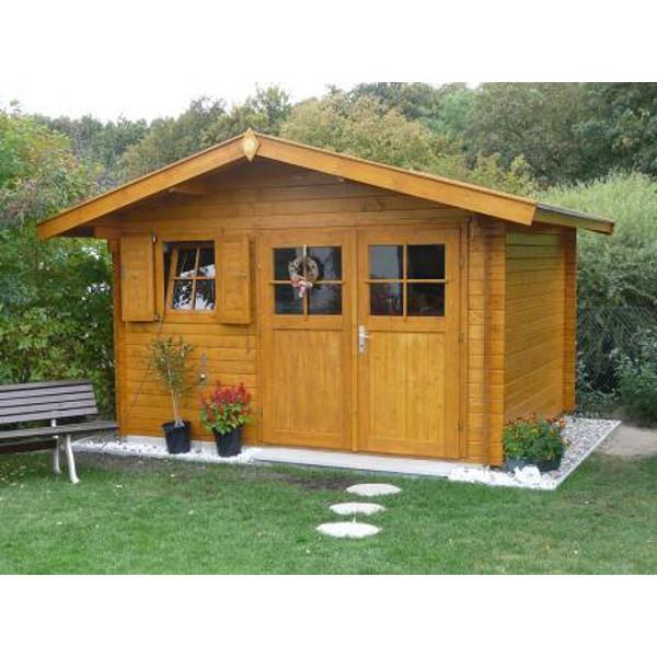 """Abri jardin bois """"Kempten 1"""" 28 mm avancée de toit 60cm"""