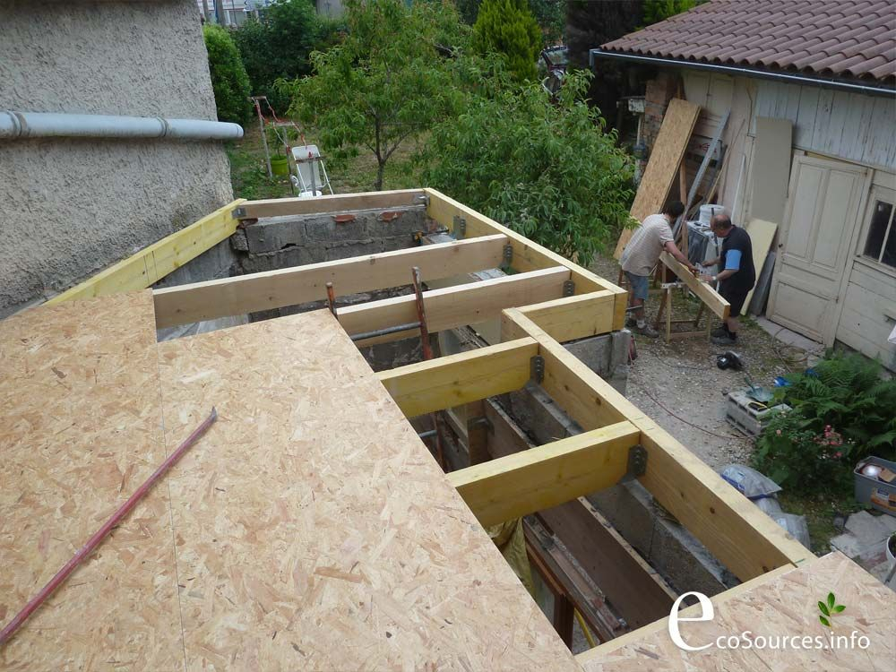 chantier auto construction toit terrasse toiture