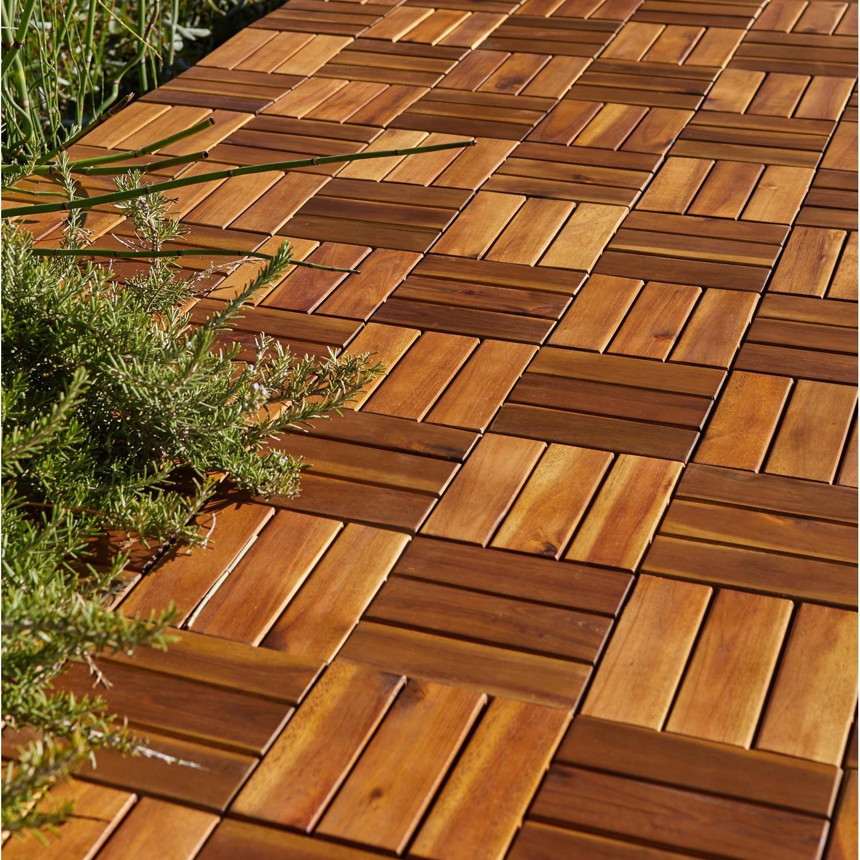 Dalle clipsable bois naturel L 30 x l 30 cm x Ep 23 mm
