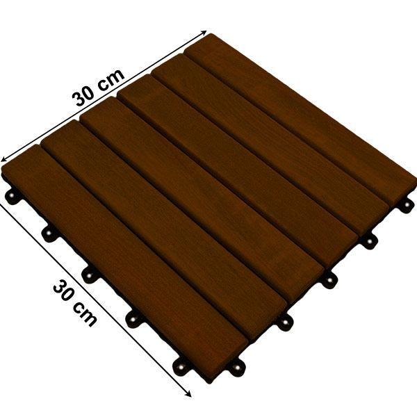 Lot de 11 Dalles acacia 30cm² système clipsable Achat