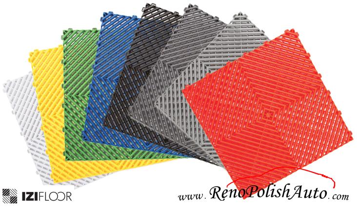 Dalle de sol IZIFloor en polypropylene verte clipsable