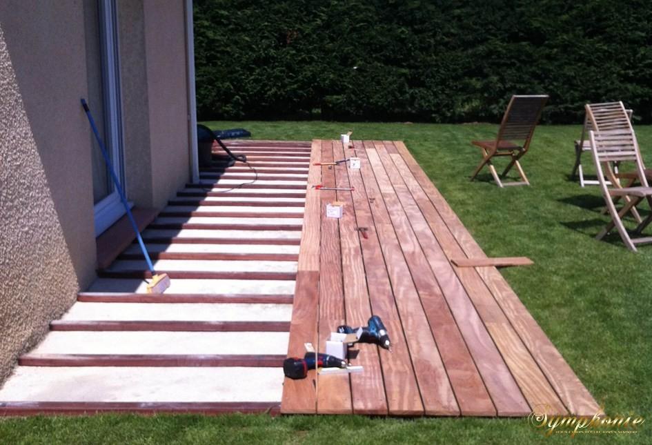 Terrasse bois sur dalle beton
