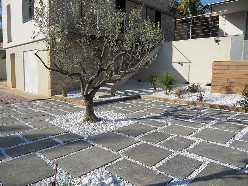 Terrasse dalle beton gris veranda styledevie
