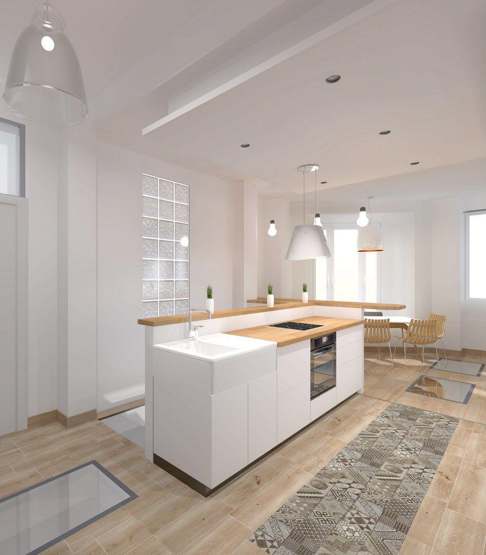 architecte carreaux de ciment cuisine ouverte design