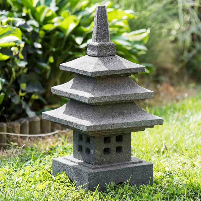 Lampe japonaise en pierre de lave naturel H 50 cm