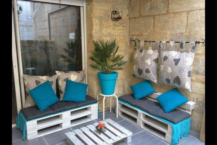 Idée deco terrasse avec des Palettes jardin