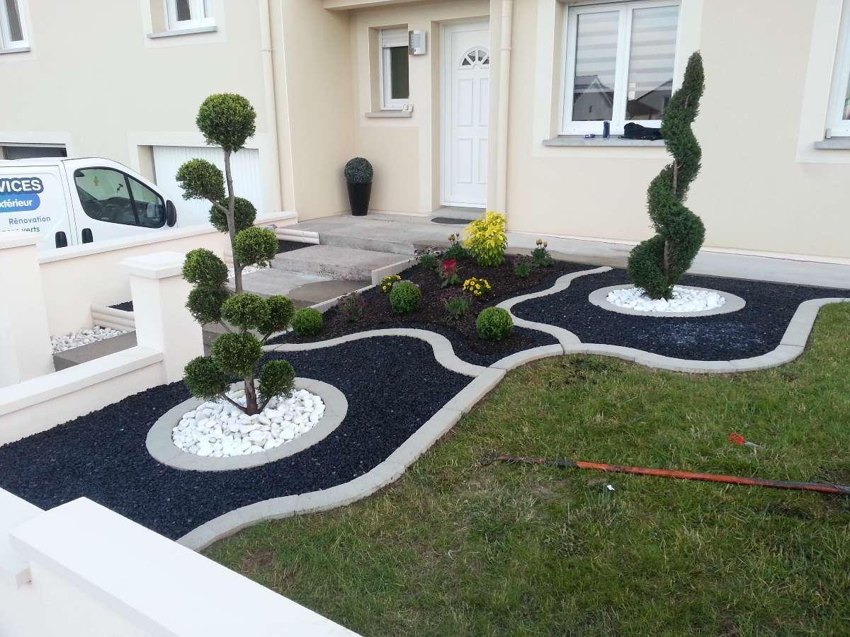 Amenagement Exterieur Jardin Avec Galets decor de parterre modele massif avec galets ft41 - idees