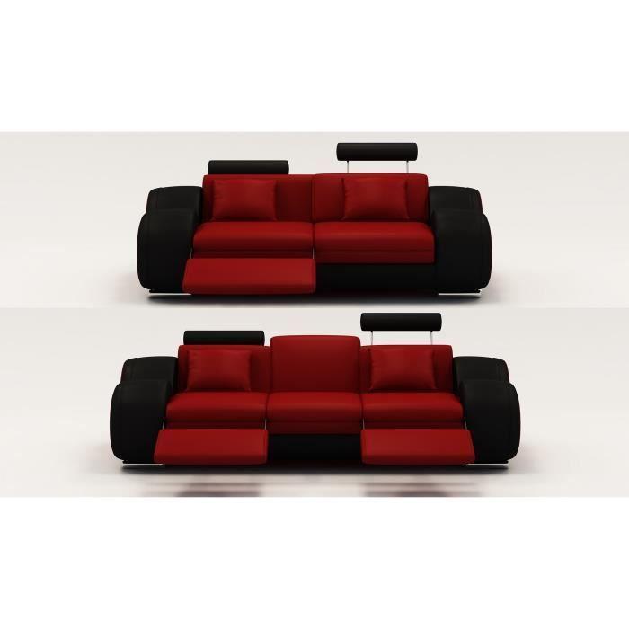 Dimension Canapé 2 Places Ensemble Cuir Relax Oslo 3 2 Places Design Rouge Et Noir