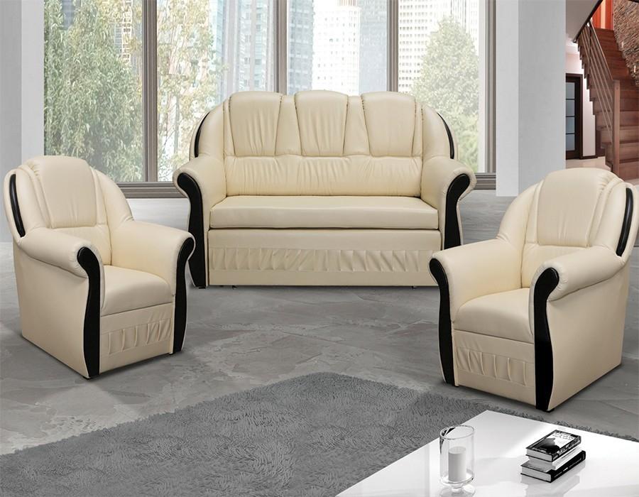 ensemble canapé et 2 fauteuils beige et wengé