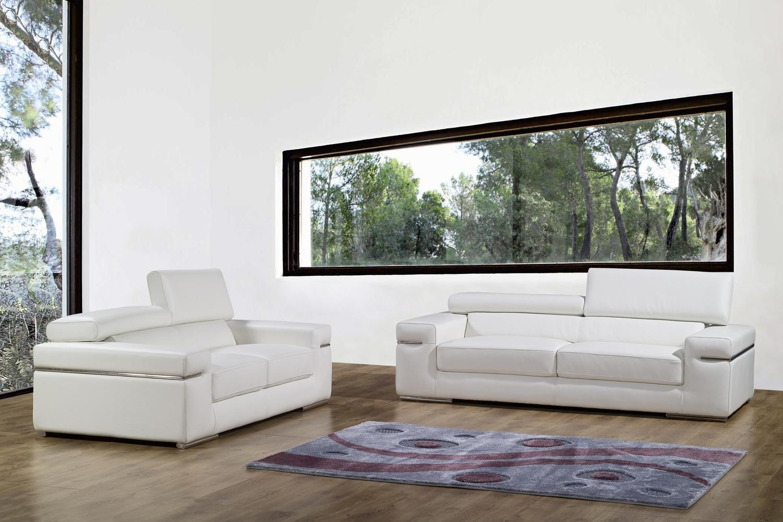 DECO IN PARIS Ensemble canape 3 2 places en cuir blanc