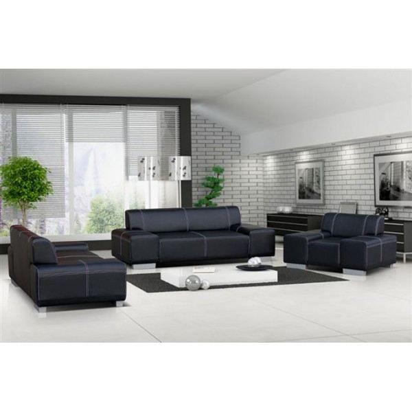 Ensemble canapé et fauteuil 3 2 1 FLAVIO noir Achat