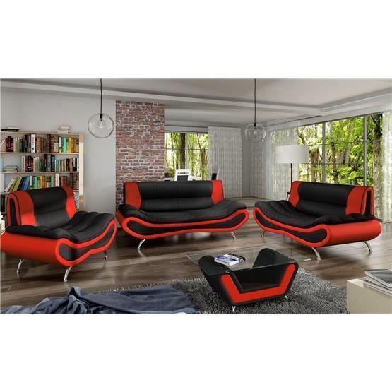 Ensemble de canapé design 3 2 1 Ori noir et rouge Achat
