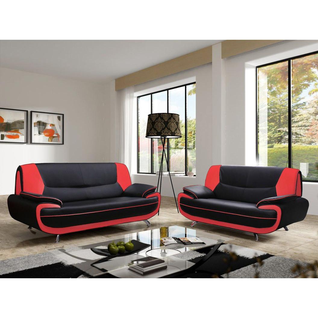 Salon ensemble canapé desing noir et rouge forium