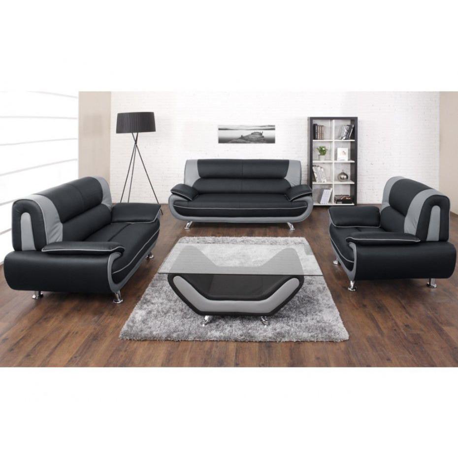 Salon Ensemble de canapé 3 2 1 simili cuir gris foncé et