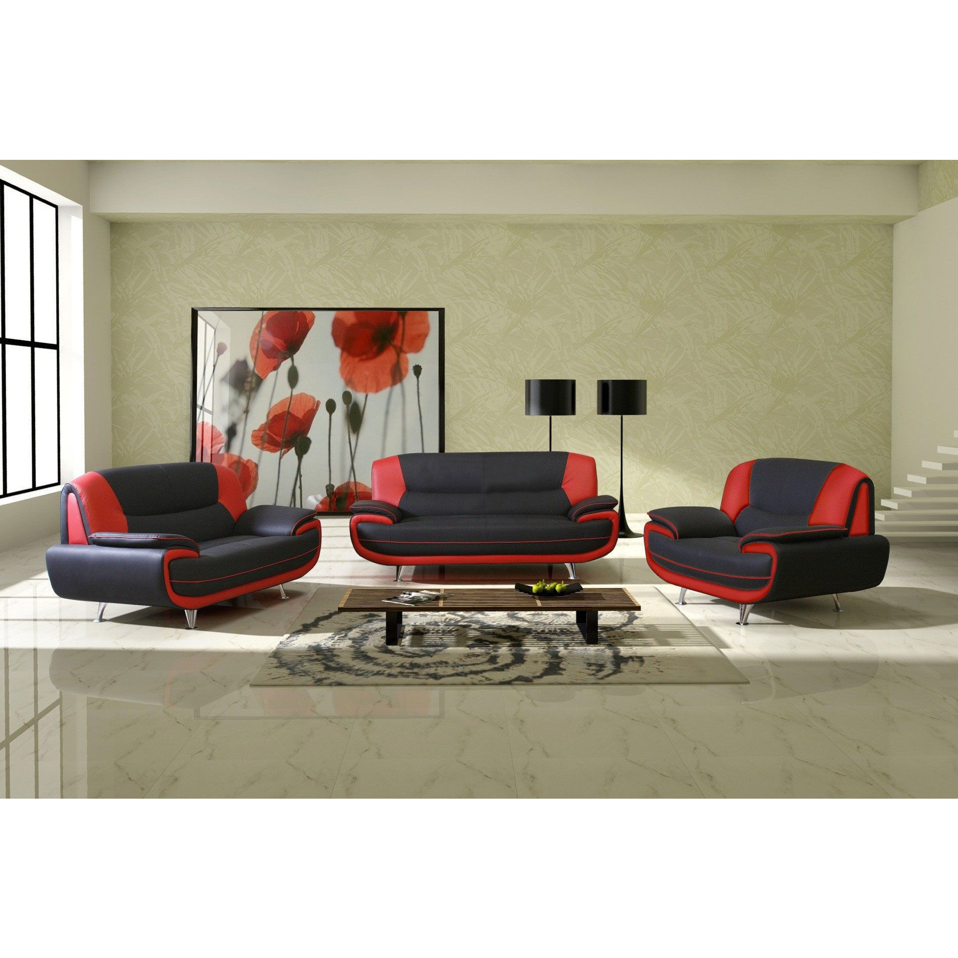 Salon Ensemble de canapé 3 2 1 simili cuir noir et rouge