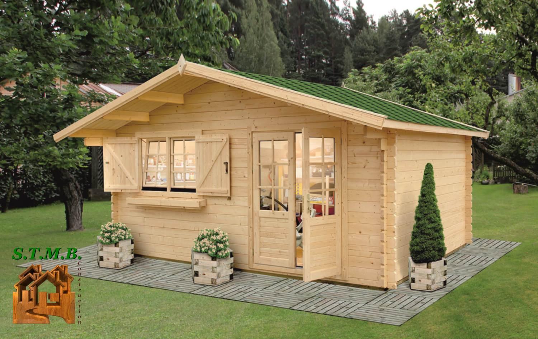 Chalet de jardin bois modèle Lilas 18 m² en madriers de 34 mm