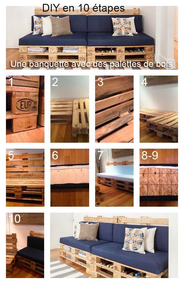 DIY une banquette avec des palettes de bois