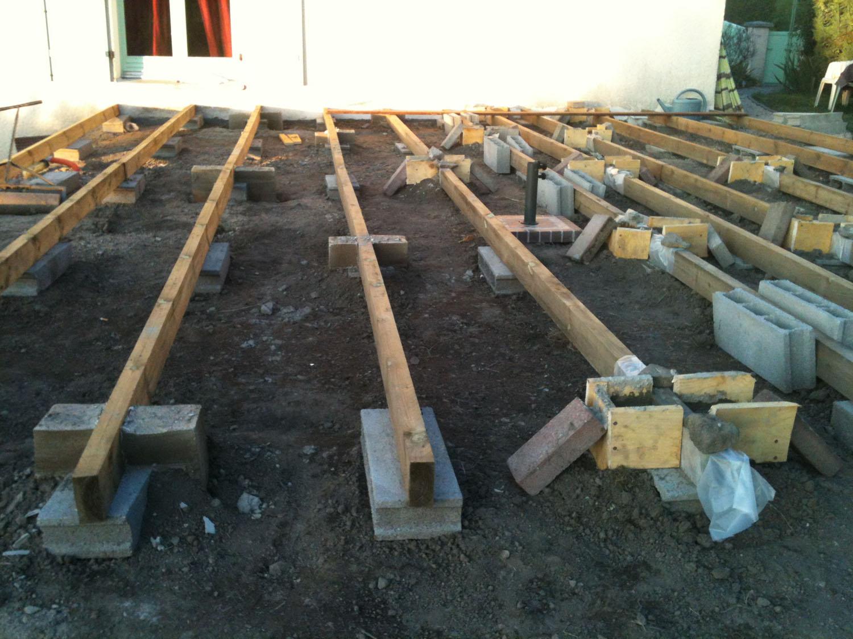 coffrage pour lambourde de terrasse en bois