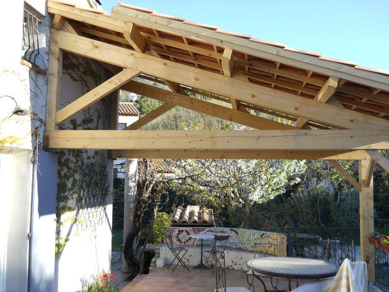 Plus adapté Faire Un toit Terrasse Terrasse Couverte Bois Et Tuiles Mailleraye IV-12