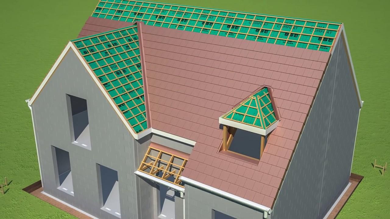 Toiture et isolation d un toit en 3D d une maison