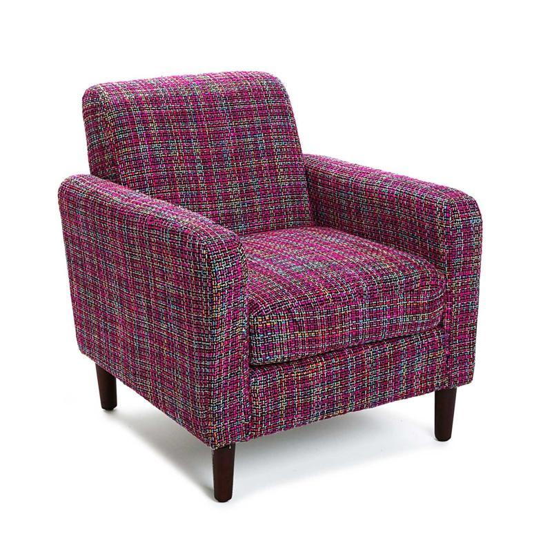 Fauteuil club tissu écossais violet