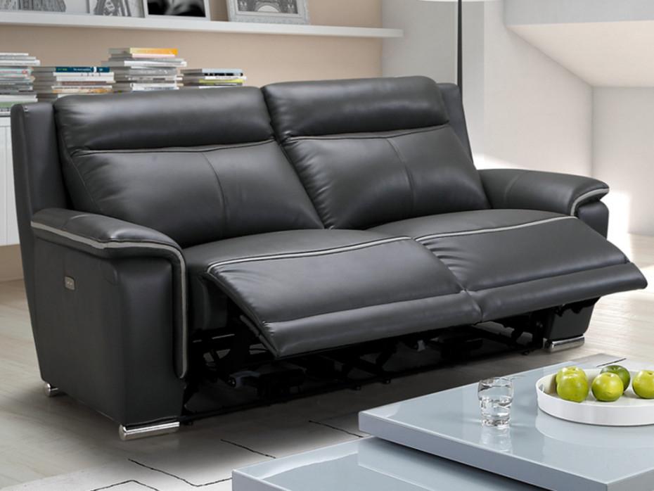 Canapé 3 places relax électrique en cuir Anthracite PAOSA