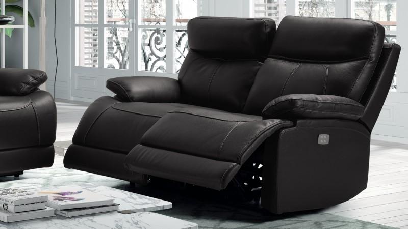 Canapé en cuir 2 places de relaxation électrique Léon